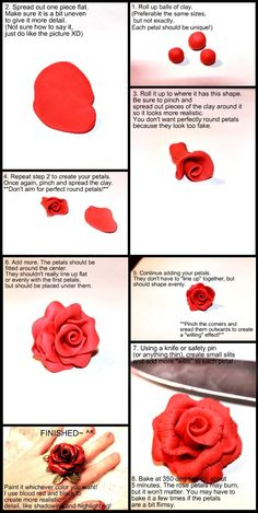 Polymer Clay Rose Tutorial by *Necrosarium on deviantART    I've done this one before.  It's super easy!