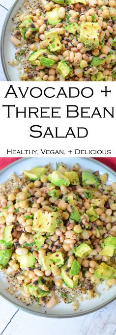 Avocado White Bean Salad made with three kinds of white beans. A delicious protein-filled side dish salad topping or entree. Healthy Delicious and it comes together in less than 5 minutes! Avocado Recipes, Healthy Salad Recipes, Vegetarian Recipes, Cooking Recipes, Vegan Vegetarian, Recipes With Beans Healthy, Vegan Food, Healthy Foods, White Bean Recipes