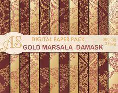 Digital Floral Gold Marsala Damask Paper Pack, 24 printable Digital Scrapbooking papers, Digital Collage, clipart, Instant Download, set 300