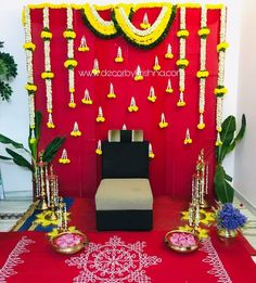DecorbyKrishna is taking orders for eco-friendly home based events decor, like p. Wedding Backdrop Design, Desi Wedding Decor, Wedding Hall Decorations, Marriage Decoration, Backdrop Decorations, Festival Decorations, Flower Decorations, Wedding Blog, Reception Backdrop