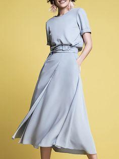 Blue Buckle Strap Waist Chic Women Midi Dress in 2020 Long Summer Dresses, Daytime Dresses, Simple Dresses, Casual Dresses, Casual Midi Dress, Munier, Midi Dresses Online, Dress Online, Look Fashion