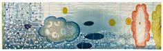 'Fermentation' (2010) by American artist & printmaker Karen Kunc (b.1952). Mixed media monoprint, 17 x 56 in. via the artist's site