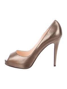 Bronze-tone metallic leather Chrisitan Louboutin Very Prive peep-toe pumps with tonal stitching, concealed platforms and covered heels. Includes box and dust bag.