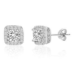Stud Earrings | Mia Sarine Rhodium Plated Silver Cubic Zirconia Asscher Cut Basket Womens Stud Earrings -- Want to know more, click on the image.