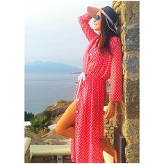 Maria Meladini wearing a Summer beach style dress by Elena Chalati @Mykonos @meladinaki