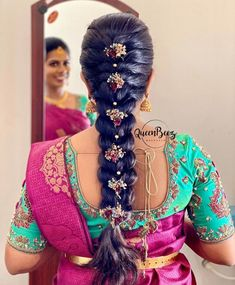 Indian Hairstyles For Saree, South Indian Wedding Hairstyles, Bridal Hairstyle Indian Wedding, South Indian Bride Hairstyle, Saree Hairstyles, Bridal Hair Buns, Bridal Hairdo, Short Wedding Hair, Wedding Hairstyles For Long Hair