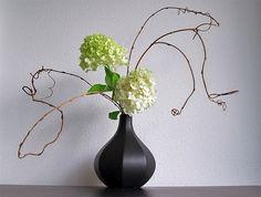 Ikebana-hydrageas-in-vase