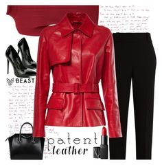 """""""red patent leather jacket"""" by katymill ❤ liked on Polyvore featuring Rumour London, Givenchy, The Row, NARS Cosmetics, red, patentleather and beastfashionla"""