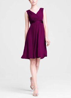 Amazon.com: David's Bridal Bridesmaid Dresses Sleeveless Jersey Dress with Charmeuse Waist Band Style E44239: Clothing