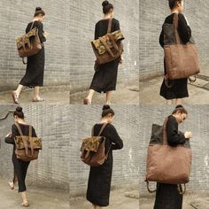 Large Casual Canvas Backpack / Shoulder Bag