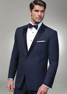 Navy Blake One Button Peak, Fit: Trim, Fabric: Super 120s Wool,