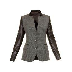 Max Mara Studio Ugola jacket (675 BRL) ❤ liked on Polyvore featuring outerwear, jackets, grey multi, maxmara, jersey jacket, faux leather sleeve jacket, grey jacket and gray jacket
