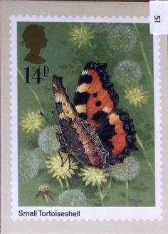 Post Card, reproduced from a stamp designed by Gordon Beningfield and issued by the Post Office on the of May 1981 Uk Stamps, Love Stamps, Royal Mail Postage, Art Postal, Postage Stamp Art, Going Postal, Art Folder, Vintage Stamps, Butterfly Art