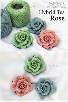 Etsy: Crochet Flower Pattern by Hybrid Tea Rose Applique by Happy Patty Crochet #crochetpattern #crochetflowerpattern #crochetflower #crochetrose #happypattycrochet