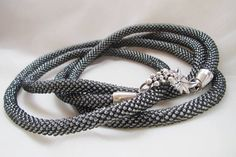 Grey Beaded Lariat Necklace Crochet Jewelry Simple Elegant Gift idea for her Gift for sister Gifts for her Casual Women gift (39.75 USD) by goodhandSakura