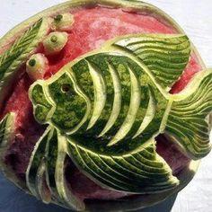 Artistic watermelon! Fish!