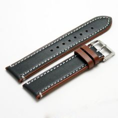 Fluco Delta Black and Brown Watch Strap : 18mm, 20mm, 22mm