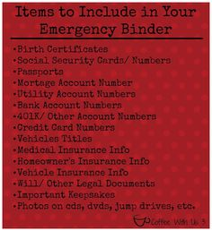 an Emergency Binder - Everyone should have something like this to grab and go in a hurry.Making an Emergency Binder - Everyone should have something like this to grab and go in a hurry. Family Emergency Binder, In Case Of Emergency, Emergency Backpack, Emergency Preparedness Kit, Emergency Preparation, Emergency Supplies, Emergency Planning, Planners, Household Binder