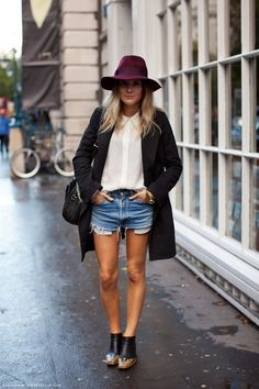 Street style, fashion, women's fashion, girl, shorts, summer, casual, festival, hat, fedora, accessories