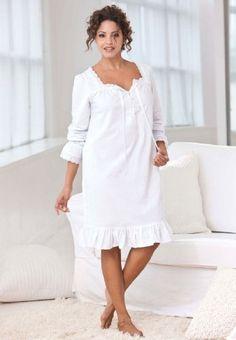 Jessica London Plus Size Peasant Sleepshirt Dreams & Co