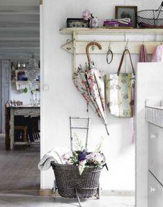 white wash foyer. Love the umbrella :)