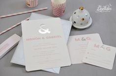 Faire-part mariage en dorure Argent et rose poudré, sobre et très élégant