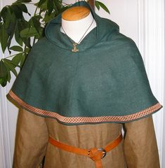 Viking Bocksten Pattern Linen Hood Medieval Cowl by Tunics on Etsy