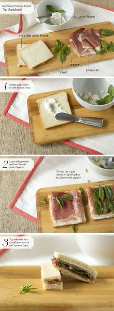 [Tea Sandwich] Goat Cheese, Prosciutto, Basil - Home - Oh, How Civilized