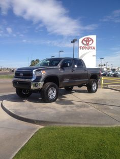 2014 Tundra CrewMax with a BDS suspension lift, off-road wheels and tires. All installed here in our Toyota service department