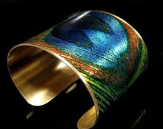 Photo Cuff, Brass Cuff, Wide Cuff Bracelet, Altered Art Jewelry, Photo Jewelry - PEACOCK Feather - Sealed in Resin - Free USA Shipping