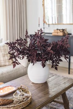 Elevate your home decor for fall this season with artificial fall leaves that look real! These plum cimicifuga leaves look elegant in any space. Shop this look at Afloral.com.