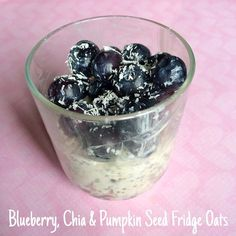 I never tire of fridge oats.. Chia seed pumpkin seed & quark oats topped with blueberries and shredded coconut  yum!!