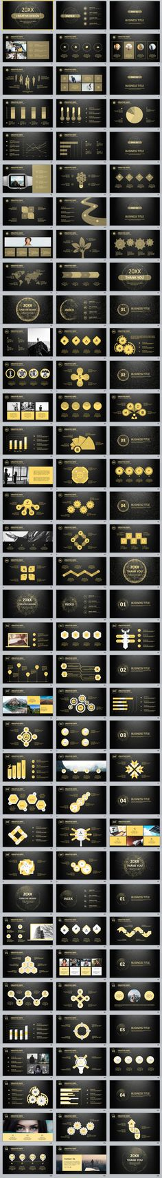 4in1+ glod Business report PowerPoint Template