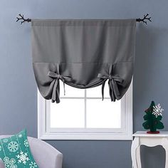NICETOWN Thermal Insulated Blackout Curtain - Bathroom Curtain Grey Tie Up Shade for Small Window, Window Valance Balloon Blind (Rod Pocket Panel, 46 inches W x 63 inches L) Tie Up Curtains, Grey Blackout Curtains, Small Window Curtains, Bathroom Window Curtains, Cool Curtains, Thermal Curtains, Small Windows, Blinds For Windows, Curtains With Blinds