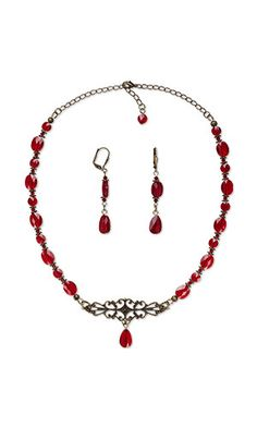 """Stylish Stringing: """"All Choked Up"""" Jewelry Set This romantically inspired style features bold red Swarovski crystal drops and beads. FREE how-to. . #lDIYjewelry #choker #Swarovski"""