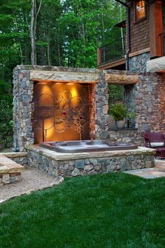 Backyard Ideas With Hot Tub charming yard landscaping with rocks fire pit and wooden jacuzzi Outdoor Spa Ideas Google Search Backyard Hot Tubsoutdoor