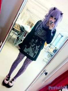 Pastel goth. Wish I could pull this off! I already have the hair