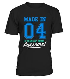 CHECK OUT OTHER AWESOME DESIGNS HERE!   Made in 04, 13 years of being awesome! This boy was Made in 2004 tee. This boy has 13 years old. 13th anniversary gifts, 13th anniversary shirts, 13th birthday boy, 13th birthday shirts for boys, teen shirts for boys, teens clothing. Perfect shirt for young boys at age of 13. Cool and funny vintage college sports old school style t-shirt design for kids, ideal as a present for thirteen year olds. Birthday gifts for girls, for mother and father.  ...