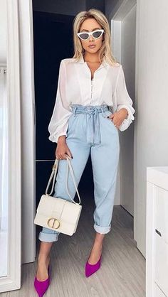 Qual sapato usar com calça clochard Cute Casual Outfits, Casual Chic, Stylish Outfits, Casual Wear, Girly Outfits, Mode Outfits, Fall Outfits, Fashion Outfits, Fashion Mode