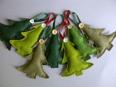 wool felt Christmas trees are to a traditional English design