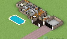 3 Bedroom House Plans South Africa   One Storey House   NethouseplansNethouseplans Small House Floor Plans, Simple House Plans, Beautiful House Plans, Garage House Plans, Dream House Plans, Modern House Plans, 6 Bedroom House Plans, 4 Bedroom House Designs, Double Storey House Plans