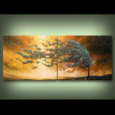 wind tree art abstract painting housewares wall art by mattsart