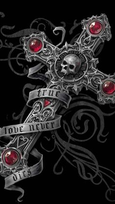 Gothic - Anne Stokes - True Love Never Dies Cross Wallpaper, Skull Wallpaper, Gothic Wallpaper, Anne Stokes, Gothic Fantasy Art, Fantasy Kunst, Gothic Fairy, Skull Tattoos, Body Art Tattoos
