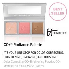 It Cosmetics Radiance Palette An amazing palette with highlighter - Radiant Light, blush stain - Love, & bronzer - Warmth. More than a 3 in 1 palette! You can use the fabulous shades as shadows too! Brand new, no box. Never used or swatched. 100% Authentic. No Trades. ✨Notice: All products are free from any detectable defects by me unless otherwise stated. All products are sold as is & without refunds or returns.✨ It Cosmetics Makeup Blush