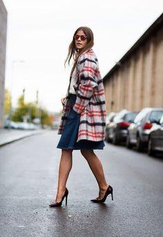 plaid + denim skirt + pumps