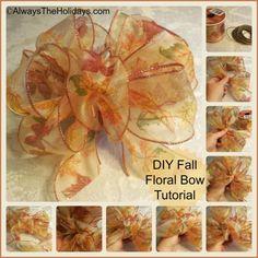 DIY Autumn Floral Bow Tutorial - Always the Holidays