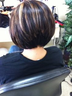 Not the color, but the way her hair is stacked in the back. A line bob haircut and highlights by Dianna