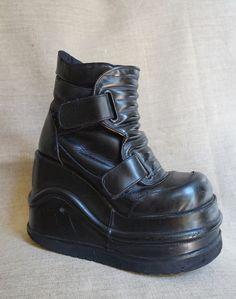 f955cbfb242 Vintage SHOCK Mega Platform wedge cyber rave goth shoes boots size us5 6  uk3 4