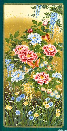 eQuilter Kaffe Fassett's Quilts in the Cotswolds Korean Painting, Chinese Painting, Botanical Illustration, Illustration Art, Oriental Flowers, Japanese Patterns, Bird Drawings, Japanese Artists, Silk Painting