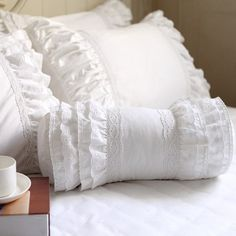 White Lace Ruffle Bolster Pillow Cover with four layers of ruffles on both sides